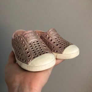Pink sparkly Native baby girl shoes